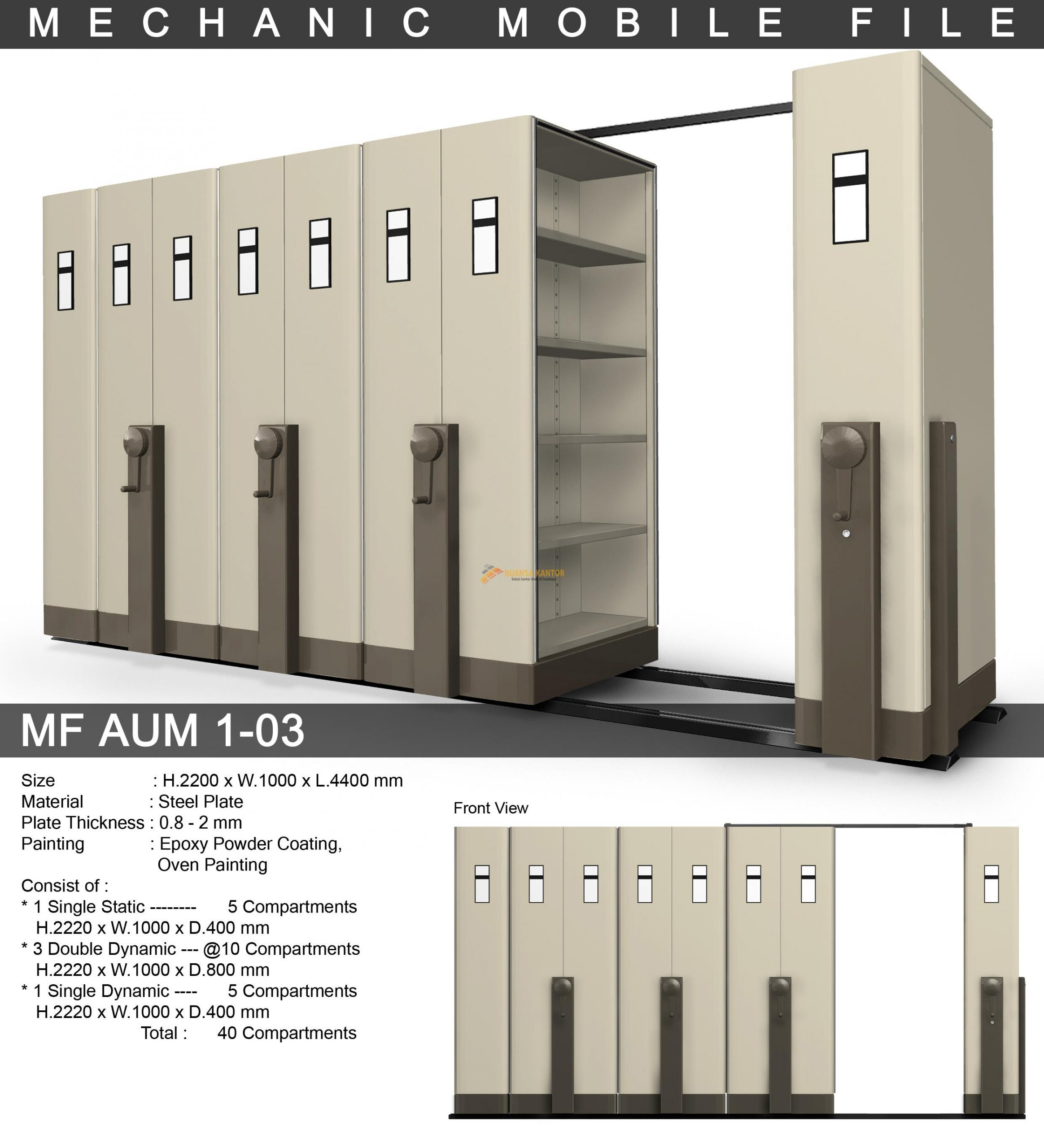 Mobile File Alba Mekanik MF AUM 1-03 ( 40 Compartments )