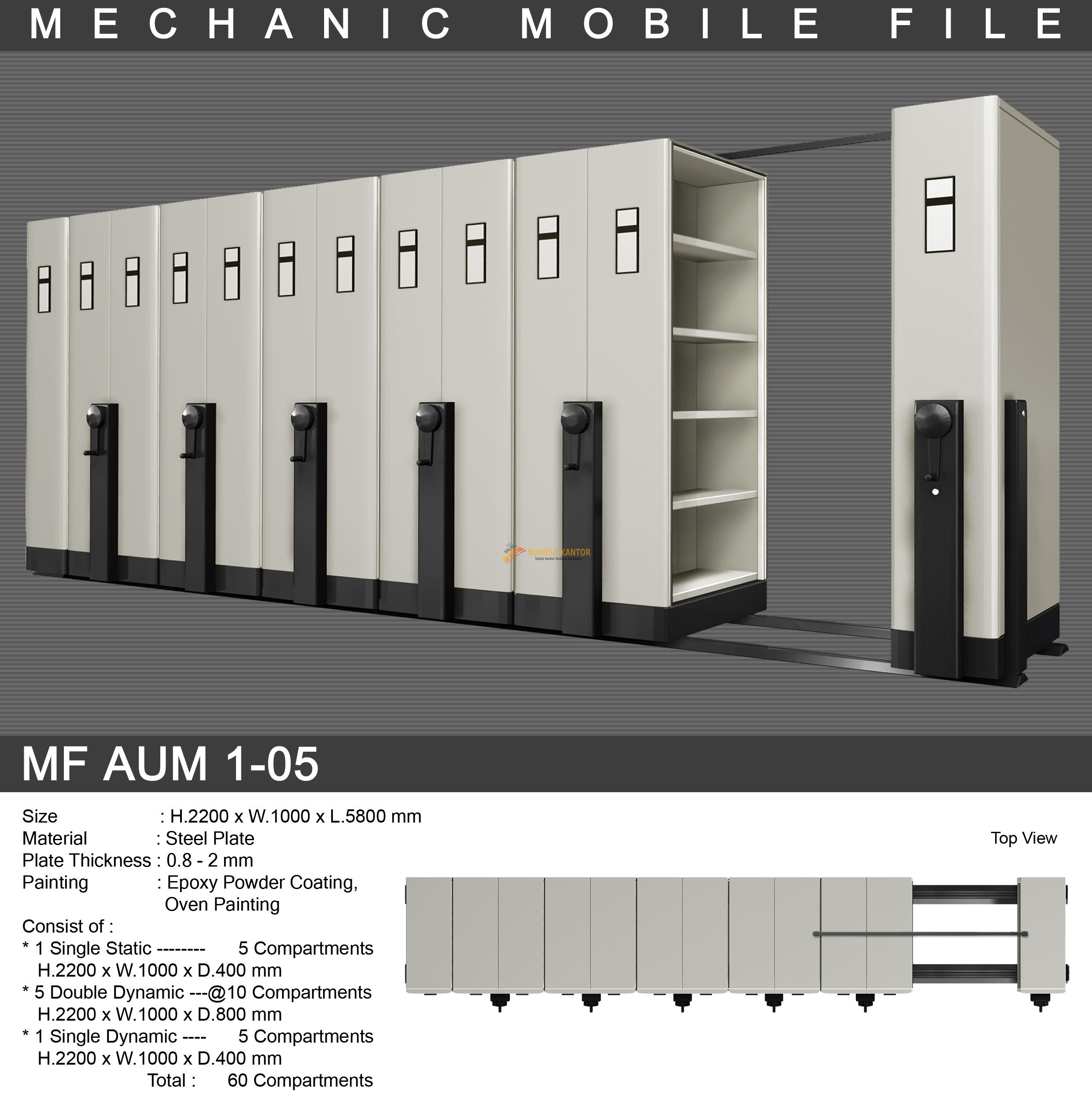 Mobile File Alba Mekanik MF AUM 1-05 ( 60 Compartments )