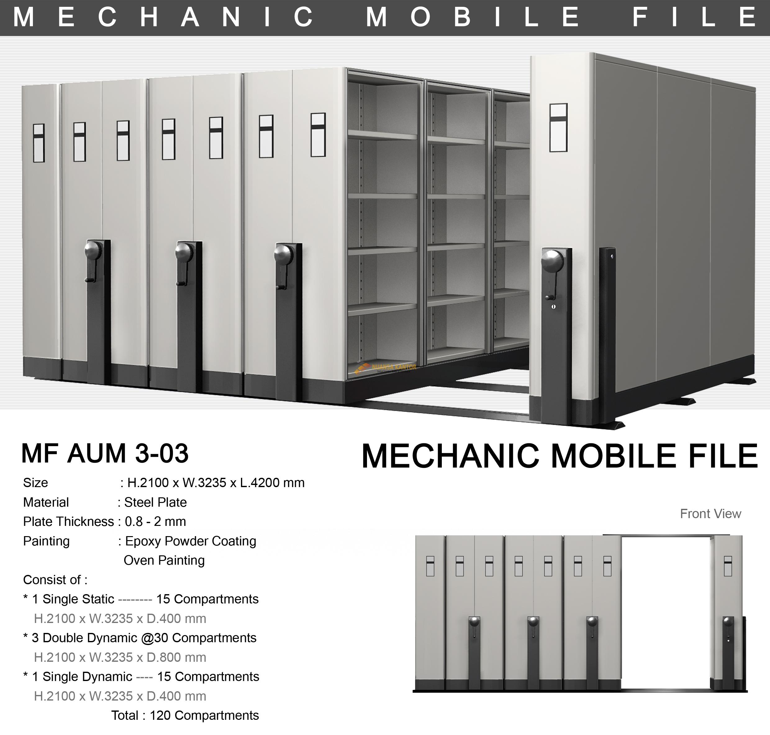 Mobile File Alba Mekanik MF AUM 3-03 ( 120 Compartments )