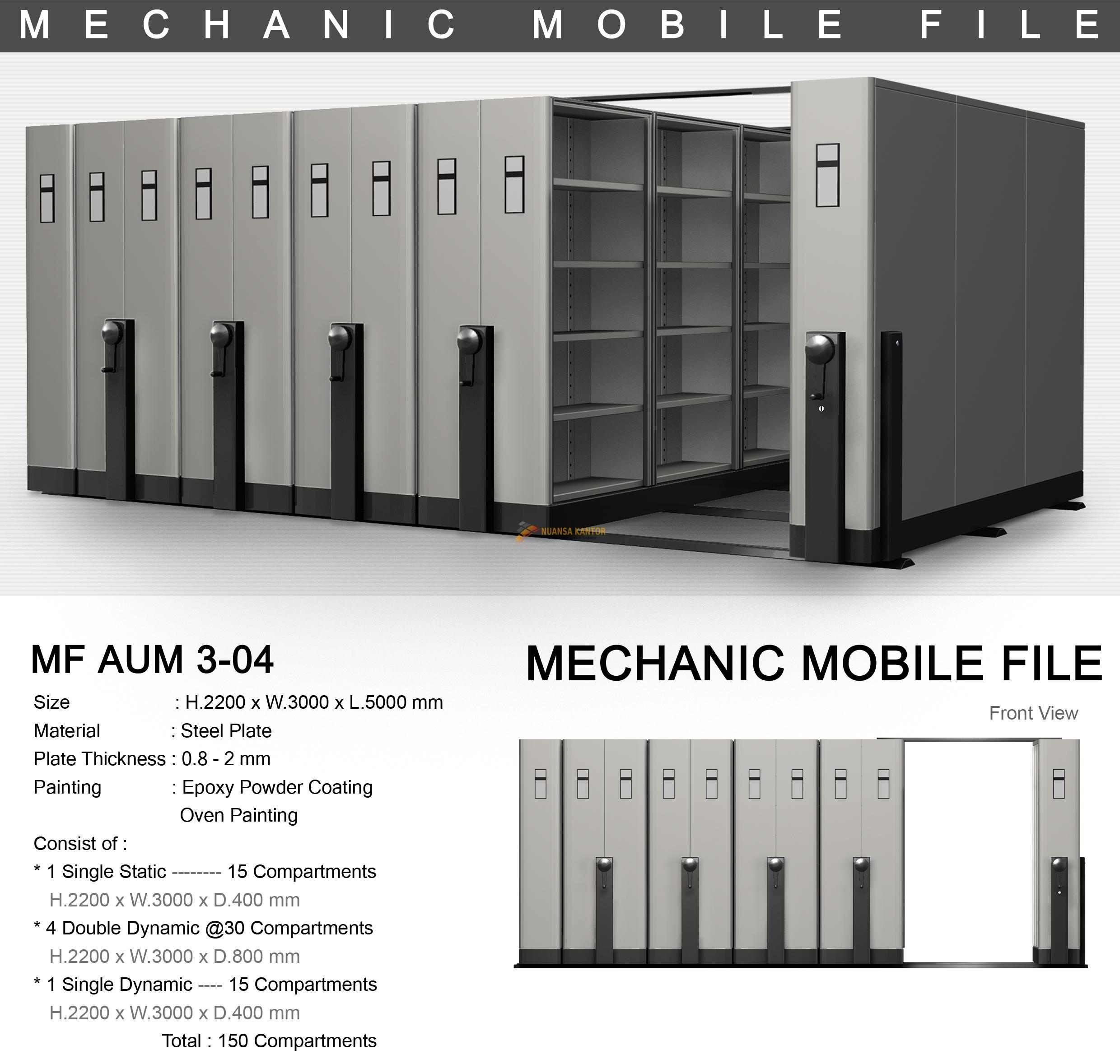 Mobile File Alba Mekanik MF AUM 3-04 ( 150 Compartments )
