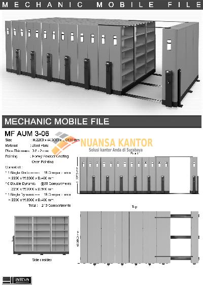 Mobile File Alba Mekanik MF AUM 3-06 ( 210 Compartments )